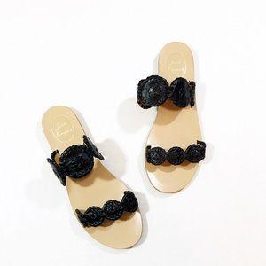 Jack Rogers Black Leather Lauren Sandal Size 8